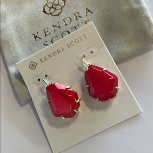 Rosenell earrings gold red mother of pearl